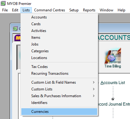 currencies list menu in myob