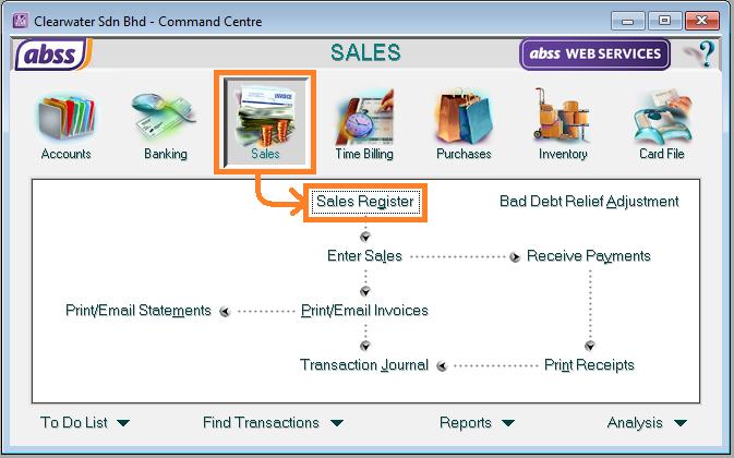 abss sales register